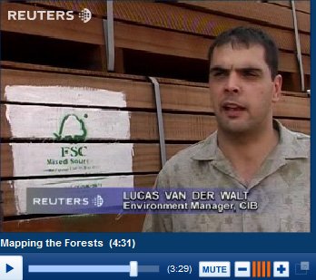 Mixed sources: Lucas van der Walt of CIB was captured in this Reuters video standing by a pile of CIB wood clearly labelled as coming from 'Mixed Sources'.