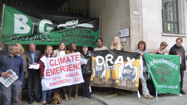 Biofuelwatch and 16 supporting organisatiions protested at Drax Plc's AGM, April 2014.